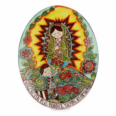 Placa-Oval-Virgen-Con-Juan-Diego-Tuquesa-con-Rosas