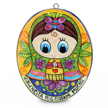 Placa-Oval--Virgen-Niña-Colores