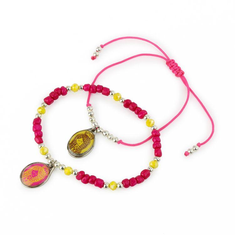 5feb730bd567 Pulsera Doble Hilo Rosa y Bolitas Dijes Virgen Rosa y Amarillo ...