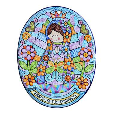 placa-oval-virgen-azul-grecas-y-flores