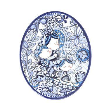 Placa-Oval-15x18-Virgen-Talavera-Contorno-Azul