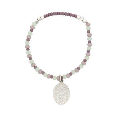 Pulsera-Cristales-Lilas-y-Verdes-Medalla-Plana-Virgen-Plata