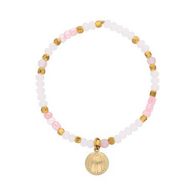 Pulsera-Cristales-Rosas-Medalla-Abombada-Virgen-Dorada