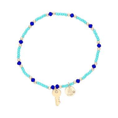 Pulsera-Chaquira-Verde-y-Cristales-Azules-Dije-Llave