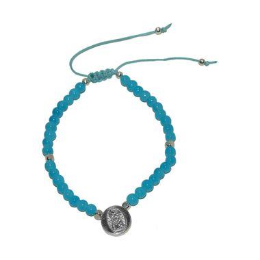 Pulsera-Bolitas-Azules-Tambor-Plateado-Virgen