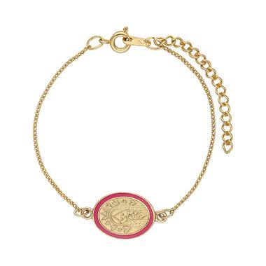 Pulsera-Medalla-Dorada-Ovalada-Esmaltada-Rosa