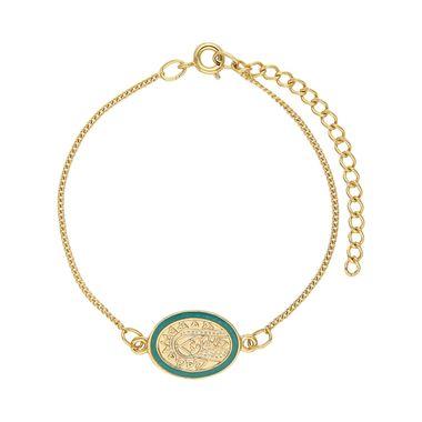 Pulsera-Medalla-Dorada-Ovalada-Esmaltada-Verde
