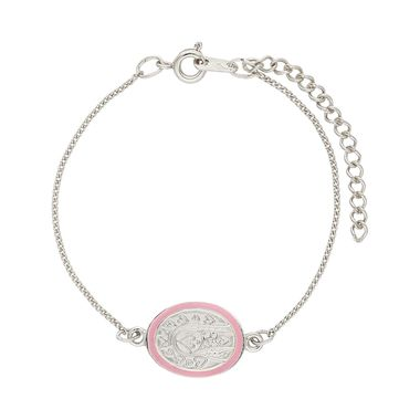 Pulsera-Medalla-Plata-Ovalada-Esmaltada-Rosa