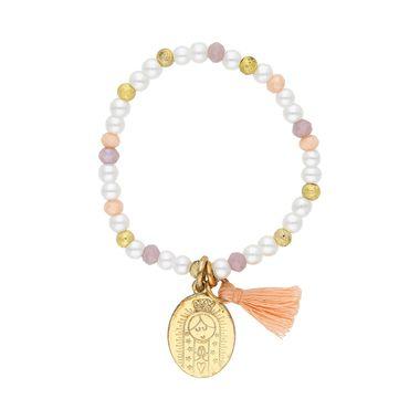 Pulsera-Medalla-Plana-Virgen-Dorada