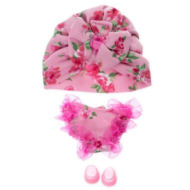 Pañalero rosa con flores y turbante para Mikromerito
