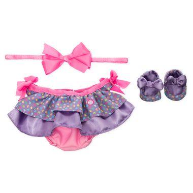 Vestido de corazones lila con diadema rosa para k-kito
