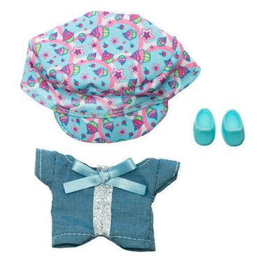 Overol de mezclilla con moño azul y gorra Ksi-merito